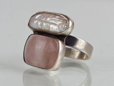 Srebrny pierścionek lata 90-te - kwarc, perła (7000017231) - Allegro.pl - Więcej niż aukcje.