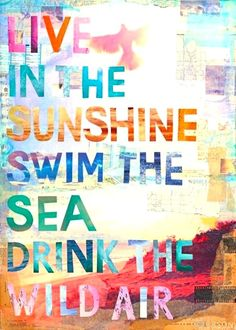 live in the sunshine, swim in the sea, drink the wild air. motto for summertime.