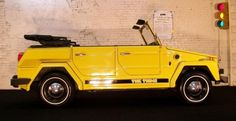 Car that turns into a boat.  1974 Volkswagen Thing - Came in two colours, yellow & orange.  One of the only cars that were built to drive on land and drop a prop when it drives in water.