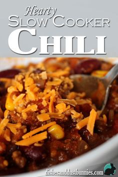 Homemade slow cooker Chili from dishesanddustbunnies.com