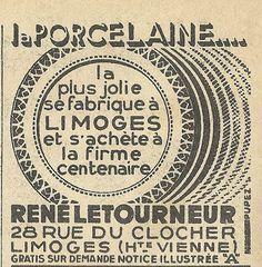 1930s French Ad: René Letourneur porcelaine de Limoges