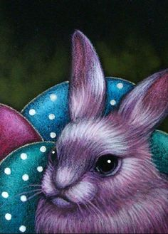 Art 'FANTASY PINK EASTER BUNNY RABBIT & EGGS' - by Cyra R. Cancel from Different Holidays, All Holidays, Art Portfolio, Bunny Rabbit, Easter Bunny, Baby Blue, Cross Stitch Patterns, Illustration Art, Owl