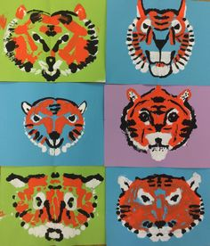 Mrs. Knight's Smartest Artists: Tiger symmetry prints in 2nd grade