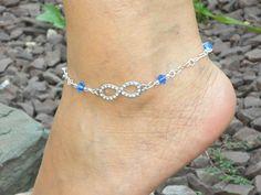 Anklet / Ankle Bracelet Rhinestone by LucysBeadedSplendors on Etsy