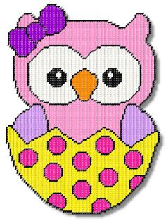 Plastic Canvas - Easter Girl Owl - #REP0201