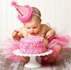"""This gorgeous """"Pretty in Pink"""" first birthday party hosted and styled by Jamielyn of I {heart} Nap Time certainly """"takes the cake"""" when it Baby Girl First Birthday, First Birthday Parties, First Birthdays, 1 Year Old Birthday Party, 1 Year Birthday, December Birthday, Fete Emma, Lila Party, Party Party"""