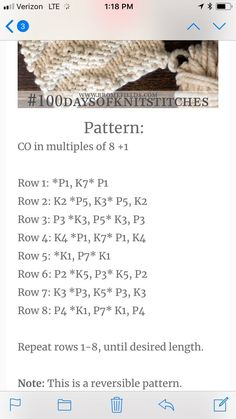 Knit pattern - Gisella P. Loom Knitting Stitches, Baby Hats Knitting, Easy Knitting Patterns, Lace Knitting, Knitting Projects, Stitch Patterns, Knit Rug, Knit Dishcloth, Knitted Washcloths