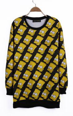 Black Simpson Patterns Print Ribbed Long Sleeve Sweatshirt
