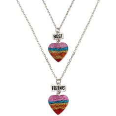 Carole 2-pc. Best Friends Heart Necklace ($15) ❤ liked on Polyvore featuring jewelry, necklaces, heart jewelry, heart pendant, pendant jewelry, long chain necklace and metal jewelry