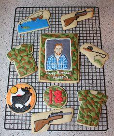 Hunting and Fishing cookies Fish Cookies, Man Cookies, Hunting, Fishing, Prom, Birthday, Creative, Senior Prom, Birthdays