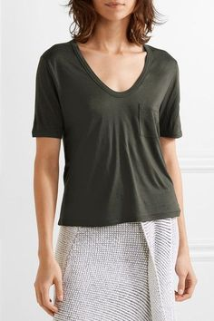 T by Alexander Wang - Jersey T-shirt - Army green - x small