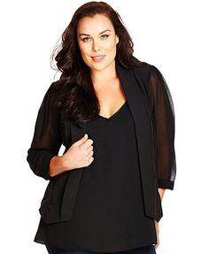 City Chic Plus Size Sheer-Sleeve Cropped Blazer | macys.com