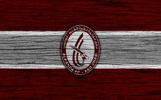 Download wallpapers Al Wahda FC, 4k, logo, UAE League, soccer, football club, UAE, Al Wahda, creative, wooden texture, FC Al Wahda