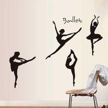 2015 Novo Design de Dança Ballet Adesivos de Parede Decalque Da Parede Do PVC Home Decor Bailarina Meninas Quarto DIY Decoração Da Casa Moderna(China (Mainland))