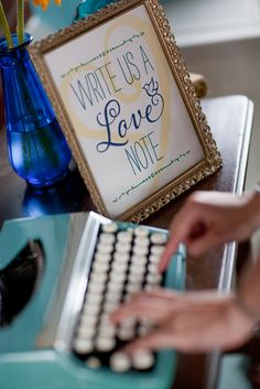 Perfect for a Vintage Wedding! A Vintage Aqua typewriter! Write Us a Love Note Wedding Print