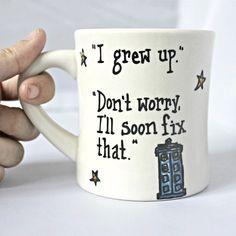 Funny Mug coffee mug tea cup diner mug white blue by KnotworkShop