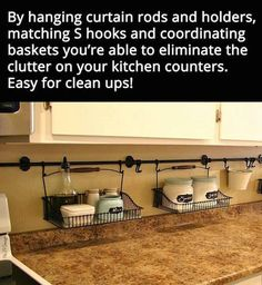 DIY Over the Counter Hanging Baskets for Kitchen Organization