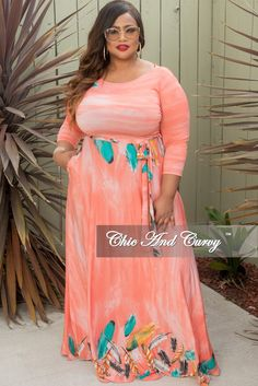 2bd5a949802 Final Sale Plus Size Long Pocket Dress with 3 4 Sleeve and Tie in Pink Leaf  Print
