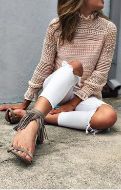 #spring #summer #highstreet #outfitideas | Nude Lace + Denim + Suede Fringes