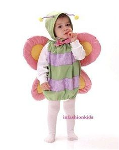 Baby Costumes - Infant Butterfly Costume - Size Infant fits Child wearing 6-18 Month -cs291 by Mullins Square. $24.99. She'll be precious in this adorable deluxe satin infant halloween costume. Baby butterfly costume features a green satin butterfly body which has elastic at the top and bottom for easy on and off. There are purple satin stripes on the body and the butterfly wings are pink and yellow satin with a light fill in the butterfly wings. At the neckline there is a pi...