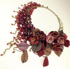 Купить Вишнёвое Парфе. Колье, серьги, цветы - бордовый, марсала, вишнёвый, вишня, шоколадный, кварц