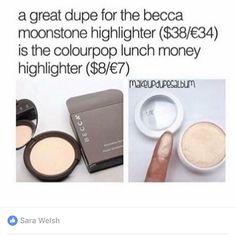 Becca highlighter dupe: Colourpop ✨ Pinterest: @framboesablog