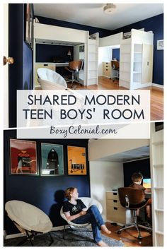Designing a shared modern teen boys' room in a small space: Ikea loft beds, Harry Potter posters, and spinny desk chairs Preteen Boys Room, Shared Boys Rooms, Kids Bedroom Boys, Shared Bedrooms, Teen Girl Bedrooms, Boy Room, Girl Rooms, Boys Bedroom Ideas Tween Small, Modern Boys Rooms