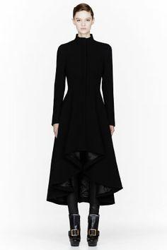 Alexander McQueen Black Textured Drop-tail Jacket for women | SSENSE