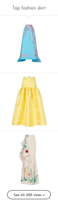 """Top fashion skirt"" by janjanzira-1 ❤ liked on Polyvore featuring skirts, high-waisted maxi skirt, blue floral skirt, floral skirt, blue high waisted skirt, high waisted skirts, yellow, yellow skirt, mid calf skirts and calf length skirts"