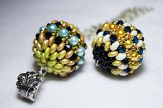 Covered bead with superduos  and Rocailles ~ Seed Bead Tutorials