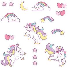 Cute Unicorn Wall Sticker Set - Girls Kids Bedroom Rainbow Mystical Decal Decor
