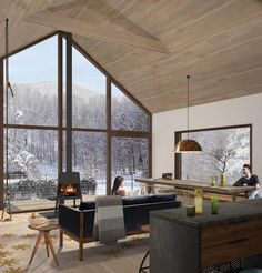 Hudson Woods project in upstate NY. Wittis Wood stove has set new standards (efficiencies range from Interior Architecture, Interior Design, Forest House, House Extensions, House Rooms, Living Rooms, House In The Woods, Home Decor Furniture, House Plans