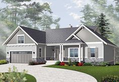 Airy Craftsman-Style Ranch - 21940DR   Craftsman, Northwest, Canadian, Metric, 1st Floor Master Suite, Bonus Room, CAD Available, Den-Office-Library-Study, Media-Game-Home Theater, PDF, Sloping Lot   Architectural Designs