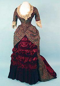 Brocade Silk Bustle Gown, 1880s