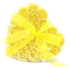 Set of 24 Soap Flower Heart Box - Roses, Roses, lots of Yellow Roses.