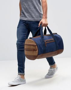 Image 3 of River Island Holdall In Navy Canvas With Faux Leather Trims