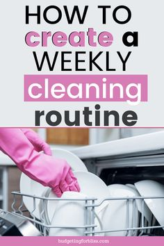 A Weekly Cleaning Routine that Works - Budgeting for Bliss Cleaning Routines, Speed Cleaning, Weekly Cleaning, Household Cleaning Tips, Diy Cleaning Products, Cleaning Solutions, Cleaning Hacks, Organised Life, Routine Printable