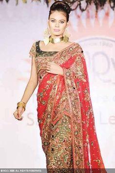 orange red wedding sari indian pic - indian wedding saris designs pics