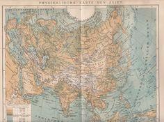 1893 Physikalische Karte von Asien * Original Landkarte Antique Map Druck Print