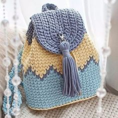Ideas For Crochet Basket Pattern Chunky Crochet Patterns Free Women, Free Crochet Bag, Knitting Patterns, Knit Crochet, Crochet Bags, Crochet Backpack Pattern, Crochet Basket Pattern, Crochet Handbags, Crochet Purses
