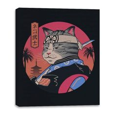 Samurai Cat - Canvas Wraps - 16x20 / Black