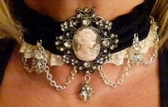 Velvet, lace cameo & crystal choker with sterling silver chain.. $49.00, via Etsy.