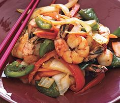 Easy, delicious and healthy Spicy Shrimp and Vegetable Stir-fry recipe from SparkRecipes. See our top-rated recipes for Spicy Shrimp and Vegetable Stir-fry. Seafood Dishes, Seafood Recipes, Seafood Meals, Shellfish Recipes, Asian Recipes, Healthy Recipes, Ethnic Recipes, Healthy Foods, Chinese Recipes