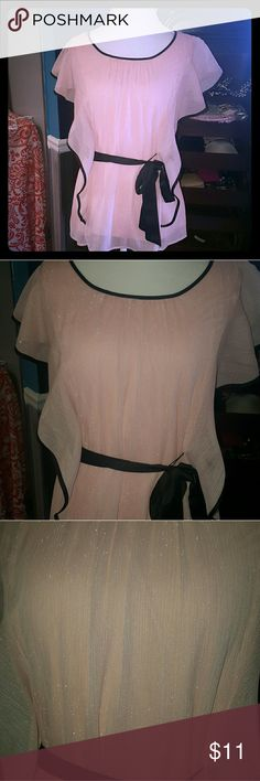 BCX  Pink shimmery top Party in this top. Pink shimmer with black edging and waist tie. Excellent condition! BCX Tops Blouses