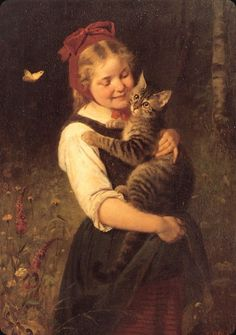 Rudolf Epp (1834 – 1910, German) - Girl with cat, 1877