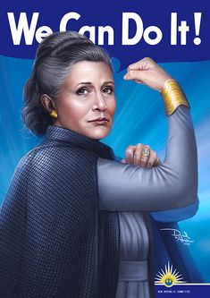 Carrie Fisher as General Leia Organa, from Star Wars. We miss you princess. We miss you general. We Can Do It - General Leia Organa Star Wars Meme, Star Wars Art, Star Trek, Leia Star Wars, Carrie Fisher, Starwars, Rock Poster, Han And Leia, Star Wars Poster