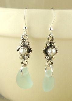 GENUINE Turquoise Sea Glass Earrings Eco by seaglassgems4you