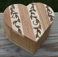 Wooden Heart Trinket Box With Wood Burned by K3Inspirations, $25.99