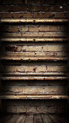 !!TAP AND GET THE FREE APP! Wall Brick Brown Dark Brutal Hard Shelves Homescreens HD iPhone 5 Wallpaper