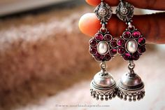 Antique Silver Ruby Jhumka From Elegance ~ South India Jewels Silver Jhumkas, Silver Jewellery Indian, Silver Jewelry, Silver Rings, Vintage Jewellery, Silver Bracelets, Bridal Jewellery Inspiration, Wedding Jewelry, Wedding Rings